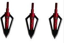 New listing 12 Pk Steel Hunting Arrow Archery 2 Fixed Blades Broadheads 100 Grain Red