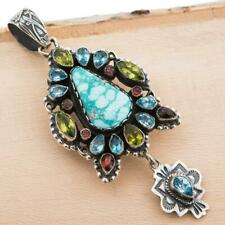 LEO FEENEY Squash Blossom Necklace Pendant Spiderwbbed Turquoise Gemstones