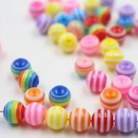 200x Mixed Stripe Round Acrylic Loose Spacer Beads Charms Jewelry Making 6mm 8mm