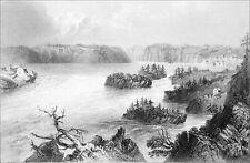 CANADA (QUÉBEC) - CASCADES de la RIVIERE SAINT-JEAN - Gravure du 19e siècle