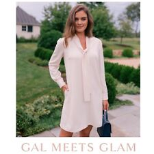 Gal Meets Glam NWT RARE Ines Tie Neck Shift Dress in Cream/Ivory, Size 4/Small