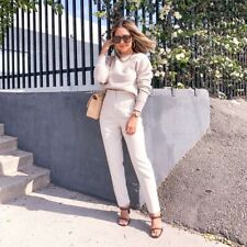 Zara High Waisted Oyster White Pleated Pants Trousers Blogger Favorite Large L