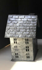 Pottery Barn GALVANIZED VILLAGE HOUSE & 2 TREES ~ SMALL ~ NEW WITH TAGS