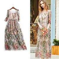 Womens Party Dress Bohème fleur brodée dentelle longue Sheer Boho Mesh robe