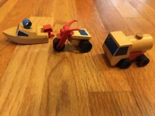 Vintage Mattel Wooden Block Toy Boat Truck Tricycle 1971 1973 Lot of 3