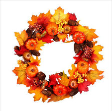 Artificial Fall Wreath Pumpkins Maple Leaves Harvest Wreath Thanksgiving Decor