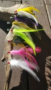Dressed VMC Open Eye Siwash Plug Hooks with Hackle Extra Long Feathers