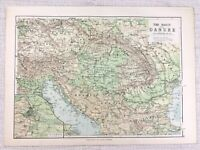 1894 Antique Map of The River Danube Germany German Physical Geography