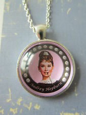 Handmade Audrey Hepburn  Silver Plated Pendant Glass Necklace New in Gift Bag