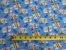 Happy Campers Travel Trailers Teardrops Blue BY YARDS Henry Glass Cotton Fabric