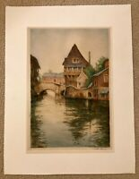 Mill In France, Signed etching by William Tatton Winter RBA - 1924