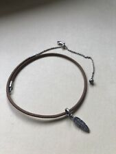 Pandora Golden Tan Leather Feather Choker Necklace