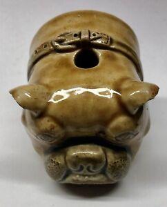Very Rare BRITISH BULLDOG 1870's Doulton Glased Stoneware INK Bottle (H141)