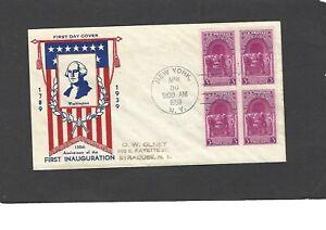 #854 WASHINGTON INAUGURAL FDC-NEW YORK,NY APR 30-1939 HOLLAND CACHET