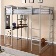 Loft Bed Frame Bunk Full Size for Kids Girls Boys with Desk Teens Adult Silver