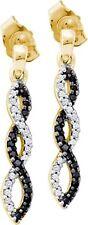 14K Black and White Diamond Dangle Earrings