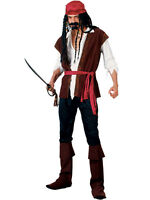 Mens Caribbean Pirate Captain Costume Adult Fancy Dress Buccaneer Outfit New