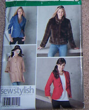 misses 6-14 JACKET COAT  BLAZER Pattern fitted & loose cut fur option button