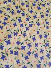 """New listing 1/2 yd 40""""W Dancing Silhouettes Sue Penn blue floral yellow cotton quilt Fabric"""