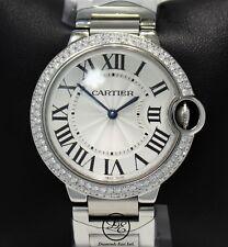 Cartier Ballon Bleu W69011Z4 36mm Midsize 1.65CT Diamond Bezel Watch B/PAPR *NEW