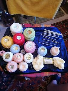 Big lot of Coats and Twilleys Crochet Thread and various hooks