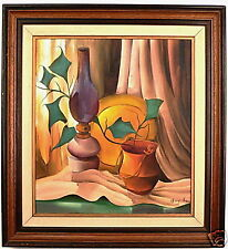 Vintage Abstract Painting, Still Life Lamp & Plant, Art from Israel, Acrylics