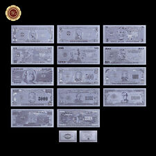 Wr 14Pcs Us Silver Banknote Full Set $1-$1 Billion Dollar Bill Decorative Gift