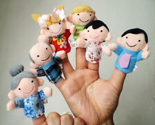 6X Family Finger Puppets Play Game Learn Cloth Doll Baby Educational Toy Gift