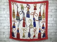 "Women's Vintage Red Border Euro Style Tassels Print 100% Silk Hair Scarf 32x32"""