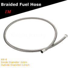 """Stainless Steel Braided Pipe Oil Fuel Coolant Line Hose AN -4 AN4 6mm (1/4"""") 1M"""