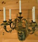 """⭐ Huge 5-Light Bronze Gold Dore Wall Sconce by E F Caldwell 15+ Pounds, 25"""" Tall"""