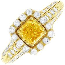 18k Gold GIA 3.20 Carat Fancy Yellow Cushion Cut Diamond Engagement Ring 2 Tone