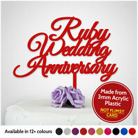 40th Ruby Wedding Anniversary Cake Toppers Party Decorations PERSONALISED 40