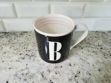 """kate spade """"to the letter"""" initial """"B"""" mug; black, ivory and pink; Lenox; EUC"""