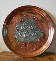 Antique Arts And Crafts Copper ship dish