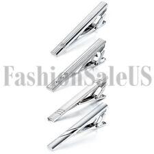 4pcs Gentleman Silver Metal Simple Necktie Tie Clip Bar Clasp Clip Clamp Pin Set