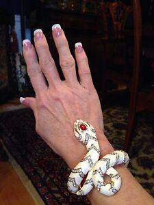 NEW Kenneth Jay Lane White Enamel PAVE CZ SNAKE Hinged Bracelet - WOW!!!!