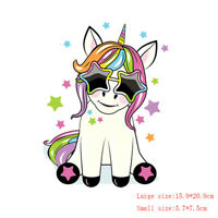 Unicorn Clothes Patches Heat Transfer StickerPrinting Iron On Appliques