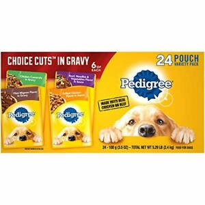 PEDIGREE Choice Cuts in Gravy Adult Soft Wet Meaty Dog Food Variety Pack, (24)