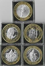 Lot (5) Four Queens $10 Silver Strike Gaming Tokens Four Seasons Set Las Vegas