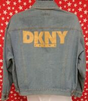 DKNY JEANS Women's Denim Button Front Jacket Spell Out Medium VTG 90s