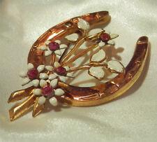 Beautiful Lucky Pink Rhinestone Enamel Flower Brooch Vintage 40's Pretty 168Ap8