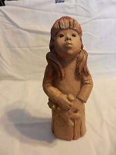 "L. Lee Bortin Originals Sad Eye Girl with Teddy Bear 9.75"" Figurine Clay Pottery"