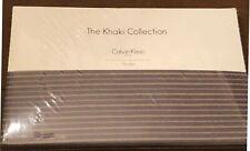 Calvin Klein Home Khaki Collection Queen Flat Sheet $50 New Nora Stripe Smoke