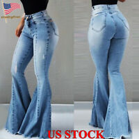 Womens Bell-bottom Denim Jeans Flared Skinny Trousers Boot Cut High Waist Pants