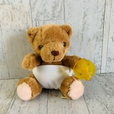 "Vintage Russ Bear Baby Bibi Plush with Toy Pacifier 5"" Stuffed Caress Soft Pets"