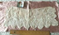 "Antique Early American 18thC-Early 19thC Hand Embroidered Linen~Leaves~17""X 7"""