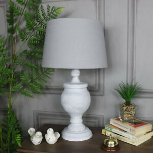 Antique white rustic wood table lamp grey linen shade shabby vintage chic light