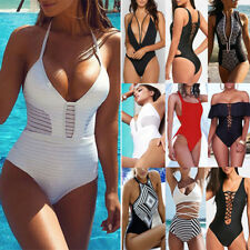 Women's HOT Swimming Costume Padded Monokini Swimsuit Swimwear Push Up Bikini UK