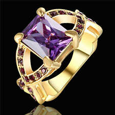 Rings Size 6 Purple Amethyst Crystal CZ Women's Yellow Gold Filled Wedding Gift
